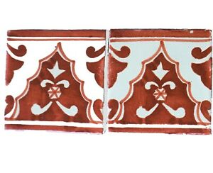45 Ceramic Mexican Wall Tile Hand Painted-Made Mexico Terracotta Tiles R93.