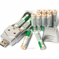 12pcs 3A 1.2V 1350mAh Ni-MH BTY Rechargeable Battery With AA AAA USB Charger Set