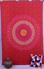 Indian Twin Size Wall Decor Red Tapestry Bedspread Mandala Design Wall Hanging