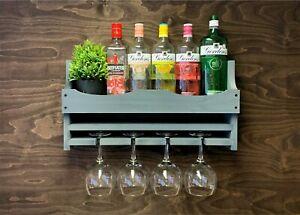 Wine Rack Grey Wooden Gin Shelf Bottle & 4 Gin Glass Holder Home Bar (4GGR)EM