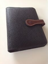 Beautiful Early Vintage Mulberry Pocketbook In Black Scotchgrain With Cognac