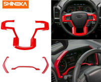 Dashboard Instrument Bezels + Steering wheel Cover Trim,for Ford F150 2015+ Red