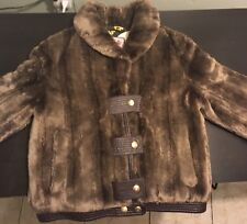 Women's Juicy Couture Designer Brown Button Up Faux Fur Winter Bomber