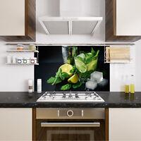Spritzschutz Herd Küche Cocktail Zitrone Schwarz Glasrückwand ESG Glas Wand