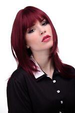Perruque pour Femme Rouge Grenat Lisse Longue Jusqu'aux Épaules Frange 50cm