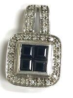 Sterling Silver Princess Cut Geometric Blue Sapphire Diamond Pave Halo Pendant