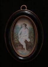 ancienne miniature sur papier femme à l'antique cadre bois noirci bronze XIX ème