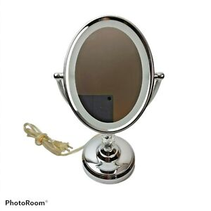 Conair Double Sided Lighted LED Makeup Mirror Magnifying Oval Silver