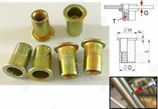 Serrated Body Flange Flat Head Rivet Nuts M6 100Pcs (BEM6)