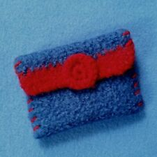 Felted Wool Crochet Wallet Coin Purse, blue and red with magnet clasp
