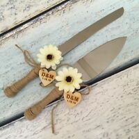 Rustic Wedding Cake Serving Set with Flowers, Personalized Wedding Cake Knife