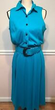 Vintage Womens Sz 12 Turquoise Dress Belted Sleeveless Has Pockets 80's Jo Ro