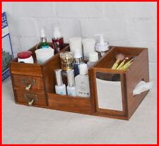 Solid Timber Oak Desktop Desk Table Organiser Storage Stationery Makeup Box A881