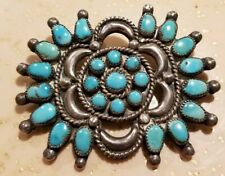 Sterling Silver Turquiose Native Brooch