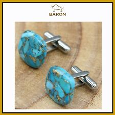 Stainless Steel Turquoise 13x20mm Dome Men/'s Cufflink