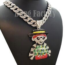 "Hip Hop Large Money Gang pendant & 18"" Full Iced Cuban Choker Chain Necklace"