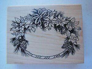 PSX Petaluma, CA Wood Mounted Rubber Stamp Flower Wreath K-386 - Large