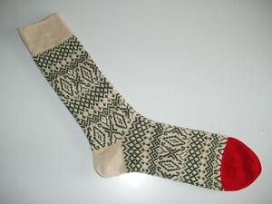 🇬🇧 Nordic Style Thick Men's MERINO WOOL Fairisle Socks 6-11 Beige/Green/Red