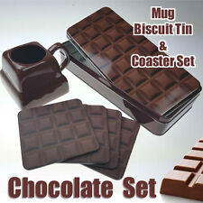 TAZZA/Biscuit Tin e 4 x QUADRATO Sottobicchieri Set da regalo, in una barretta di cioccolato Design
