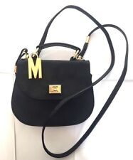 MOSCHINO REDWALL Hand Bag Shoulder Black Gold Nylon Leather Italy VTG Rare!