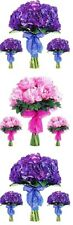 ~ Flower Bunches Bouquets Pink Purple Stems Paper House StickyPix Stickers ~