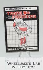 Kup TARGETMASTER Action Figure Instruction Manual Booklet 1988 G1 Transformers