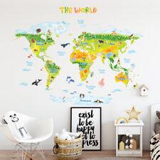 Decowall Geological Animals World Map Nursery Kids Wall Stickers Decals DLT-1715