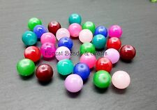 100 x 8mm Glass 'Jade' Style Round Beads ~ Mixed Colours Jewellery Making Crafts
