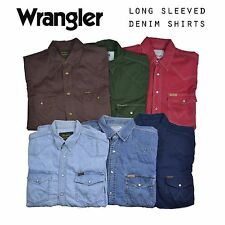 Vintage Mens Wrangler Long Sleeved Denim Shirts XS, S, M, L, XL, XXL