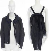 HELMUT LANG VINTAGE Parachute strap zipped trimmed wide collar jacket IT40 US4 S
