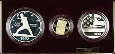 1992 US Mint Olympic Commemorative 3 Coin Silver & Gold Proof Set as Issued DGH