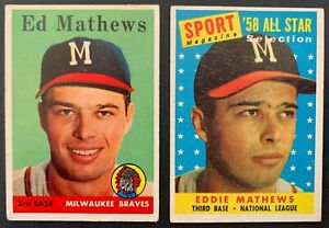 (2) 1958 Topps Ed/Eddie Mathews Baseball Card Lot #'s 440 (G-VG) & 480 (EX-EX+)