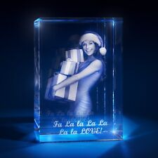 3D Laser Crystal Glass Personalized Etched Engrave Stand Christmas Portrait S