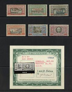 F873  Somalia  1924  Manzoni  SURCHARGED - hi values signed   6v.  MLH