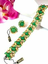 NWT CROWN TRIFARI JEWELS INDIA JADE GRIPOIX GLASS CABOCHON BRACELET EARRINGS SET