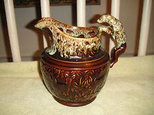 Superb Harker Rockingham Pottery Pitcher W/Dog Handle-Brown Glaze-USA-Lovely