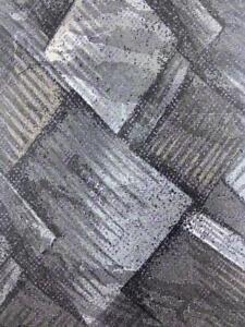 J.FERRAR MADE IN ITALY BLACK GRAY BLOCKS DECO SILK NECKTIE TIE MMA2321B #R23