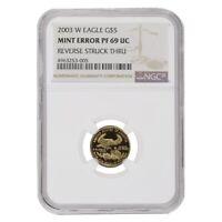 2003 W 1/10 oz $5 Proof Gold American Eagle NGC PF 69 UCAM Mint Error (Rev