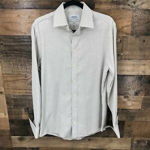 Charles Tyrwhitt Men's Brown And White Dot Slim Fit French Cuff Long Sleeve Butt