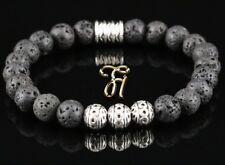 Lava Armband Bracelet Perlenarmband Silber Beads Buddha schwarz 8mm