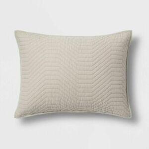 Project 62 Nate Berkus Standard Pillow Sham Beige Quilted Stitch Tan 20X26 NWT