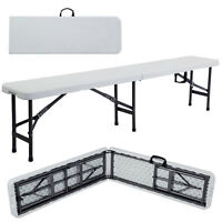 6'Portable Folding Camping Bench Plastic In/Outdoor Oicnic Party Dining Table