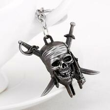 Pirates of the Caribbean Key Ring Silver Keychain Skull Bone Figure Jack Sparrow