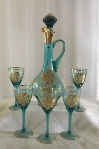 Bohemian Vintage Turquoise and Gold Decanter Set with (5) glasses