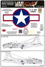Kits World Decals 1/72 B-17G FLYING FORTRESS Red Stars & Bars with Stencils