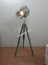 NAUTICAL FLOOR LAMP, DESIGNER TRIPOD FLOOR LAMP SEARCH LIGHT WITH GREY TRIPOD