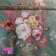 Home Decor Large Flower Vase Green Pink Heavy Upholstery Fabric by the Yard