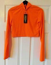 I SAW IT FIRST Neon Orange Rib Jersey Long Sleeve Crop Top Size UK 8 BNWT