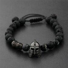 Men Black Spartan Helmet Beaded Natural Stone Charm Macrame Bracelets Adjustable