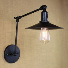 Black MINI Adjustable Wall Lamp Switch Long Swing Arm Lighting Sconce Fixtures